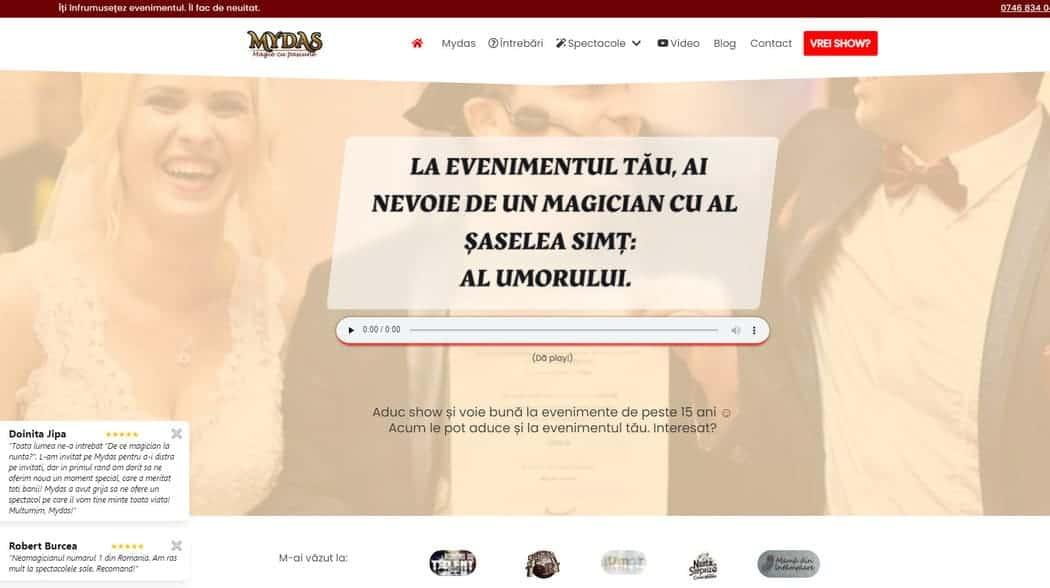 Site Mydas.ro - Exemplu design Gutenberg